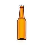玻璃啤酒褐色瓶,隔绝在白色背景 皇族释放例证