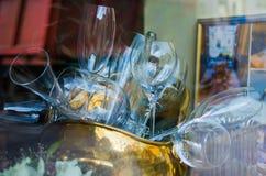 玻璃在餐馆 库存照片
