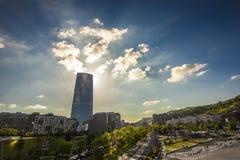 玻璃塔在毕尔巴鄂 免版税图库摄影