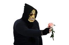 玻璃妖怪凝视桃红色玫瑰 免版税库存图片