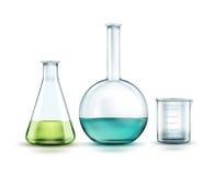 玻璃实验室烧瓶 库存例证