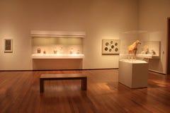 玻璃容器和垫座,与柔光在各种各样的人工制品,克利夫兰美术馆,俄亥俄, 2016年 免版税库存图片