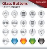 玻璃按钮-计算机 库存照片