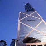 玻璃朝向摩天大楼,港岛。 库存图片