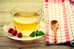 玻璃杯子与切片的绿茶柠檬,薄菏叶子, fres 免版税库存照片
