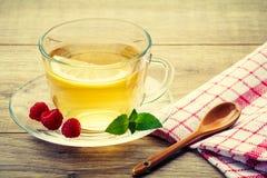 玻璃杯子与切片的绿茶柠檬,薄菏叶子, fres 图库摄影