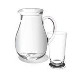 玻璃杯子和水罐,传染媒介,例证,隔绝在白色背景 免版税库存照片