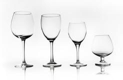 玻璃杯子的不同的类型 库存照片