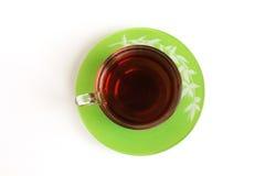 玻璃杯有茶顶视图 免版税图库摄影