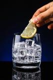 玻璃杯水用柠檬 库存图片
