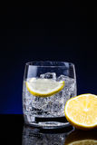 玻璃杯水用柠檬 图库摄影
