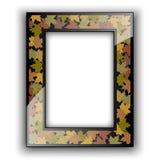 玻璃照片框架 秋天五颜六色的设计叶子花圈 免版税库存图片