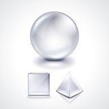 玻璃球形、立方体和金字塔导航例证 免版税库存图片