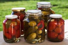 玻璃瓶子自创蕃茄和黄瓜 免版税库存图片
