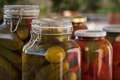 玻璃瓶子自创蕃茄和黄瓜 库存图片
