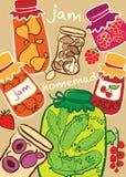 玻璃瓶子,果酱,自创蜜饯,例证 免版税库存照片
