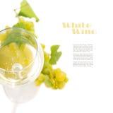 玻璃用在与copyspace的白色背景隔绝酒和葡萄 免版税库存图片