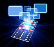 玻璃电话触摸屏幕选择概念 免版税库存照片