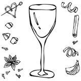 玻璃白葡萄酒 手拉的向量例证 库存照片