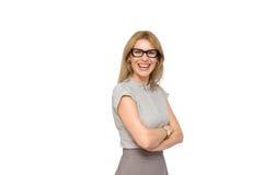 玻璃的可爱的专业女实业家 免版税库存照片