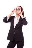 玻璃的女商人 免版税库存照片