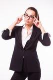 玻璃的女商人 免版税库存图片