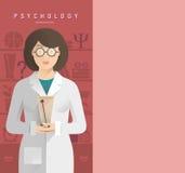 玻璃的妇女心理学家 免版税库存照片