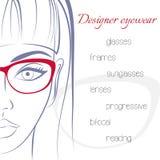玻璃的妇女 眼镜师概念 时髦 库存图片