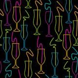 玻璃的无缝的样式 在一个黑背景鸡尾酒会的霓虹颜色导航例证 免版税库存图片