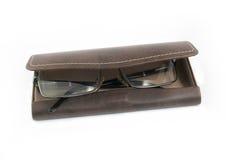 玻璃的皮革盒 免版税库存照片