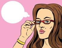 玻璃的秀丽女孩 流行艺术illustraton 库存例证