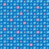 玻璃的蓝色和桃红色片段在蓝色背景的 库存照片