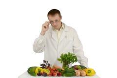 玻璃的医生与菜 库存照片