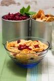 玻璃碗用与蔓越桔混合的玉米片 免版税库存图片