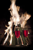 玻璃红色二酒 免版税库存照片