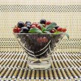 玻璃花瓶用黑和红浆果 免版税库存图片