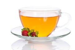 玻璃茶用草莓 库存照片