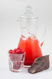 玻璃蒸馏瓶用莓汁、巧克力和冰 免版税图库摄影