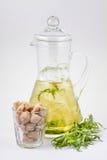 玻璃蒸馏瓶用龙篙汁和冰 库存图片