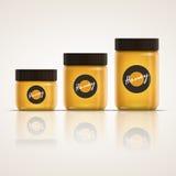 玻璃蜂蜜瓶子集合 免版税库存照片