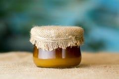 玻璃蜂蜜瓶子 库存图片
