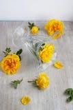 玻璃觚和黄色玫瑰在轻的委员会 库存照片