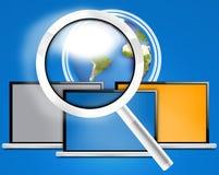 玻璃计算机地球 免版税库存图片