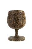 玻璃酒由木头被做 免版税库存图片