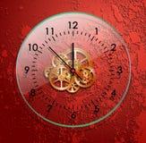 玻璃钟表机构红色 免版税库存图片