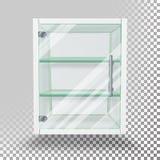 给玻璃门橱柜传染媒介做广告 倒空在透明背景隔绝的立场 展览和Produ的广告玻璃陈列室 向量例证