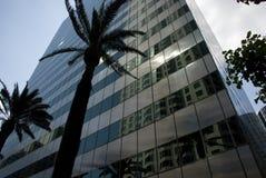 玻璃门面反射在洛杉矶,加利福尼亚摩天大楼  免版税库存照片