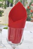 玻璃餐位餐具 免版税图库摄影