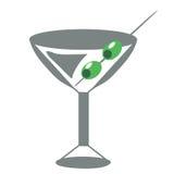 玻璃马蒂尼鸡尾酒橄榄 免版税库存照片