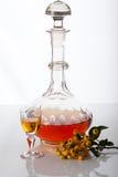 玻璃水瓶用自创利口酒 免版税库存照片